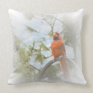 Red Cardinal Square Throw Pillow