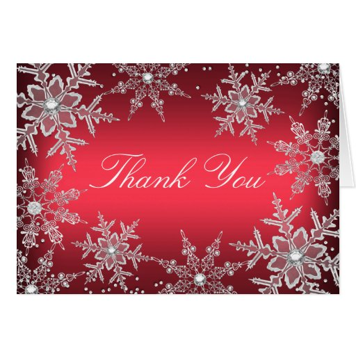 Red Crystal Snowflake Christmas Thank You Card Zazzle