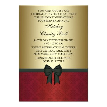 Red Damask Gold Black Tie Corporate Party Card
