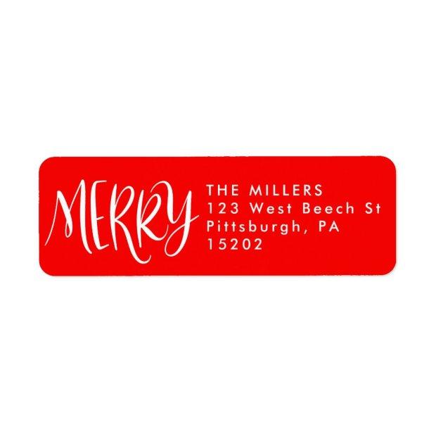 Red Festive Merry Christmas Return Address Labels