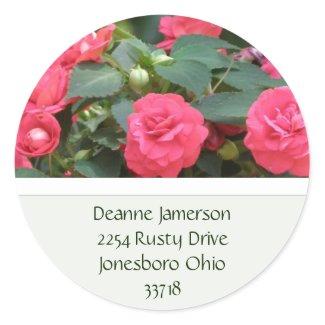 Red Floral Address Stickers sticker