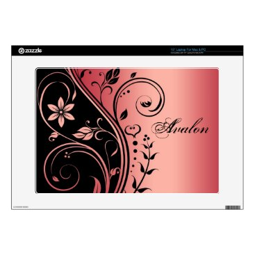 """Red Floral Scroll 15"""" Laptop Skin"""
