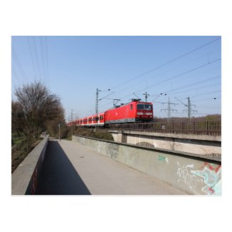Red German Train Post Card