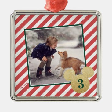 Red Glitter Mickey Icon with Photo Metal Ornament