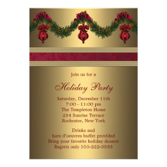 Red Gold Christmas Holiday Party Custom Invitations