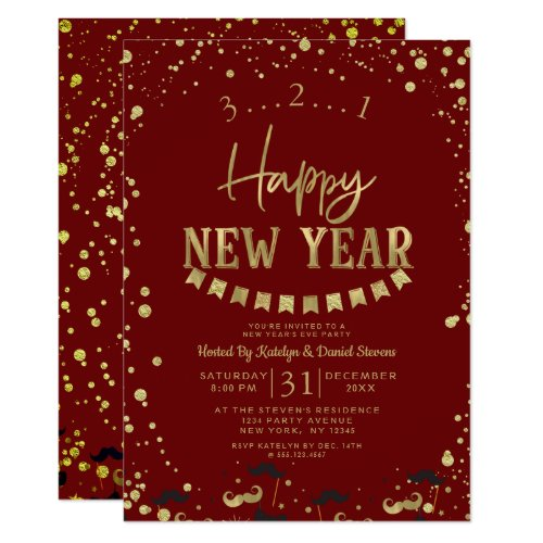 Red & Gold Foil Confetti New Year's Eve Party Invitation