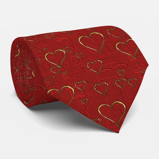 Red Gold Hearts Valentines Day Mens Tie Zazzle