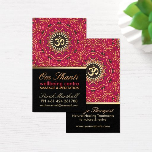 Red Gold Om Shanti Yoga Wellbeing Business Card
