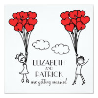 Red Heart Balloons Doodles Wedding Invitation
