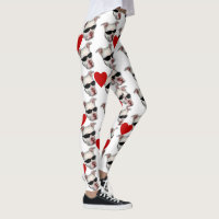 Red Hearts Pitbull fashion art leggings