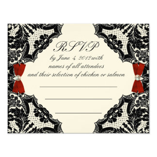 Red Ivory And Black Lace Wedding Rsvp Card