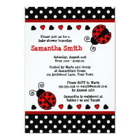 Red Ladybug Baby Shower Black and White Polka Dots Card