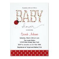 Red Ladybug Baby Shower Invitation