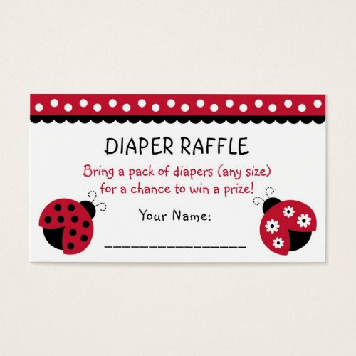 Red Ladybug Diaper Raffle Tickets