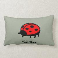 Red ladybug lumbar pillow