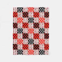 Red Ladybug Polka Dots Baby Girl Quilt Blocks Fleece Blanket
