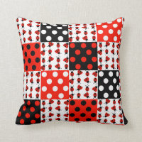 Red Ladybug Polka Dots Baby Girl Quilt Blocks Throw Pillow