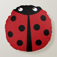 Red Ladybug Round Throw Pillow