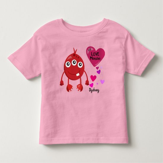 Red Lil Love Monster with Hearts | Valentine's Toddler T-shirt