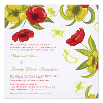 Red + Lime Green poppy flowers wedding invitation
