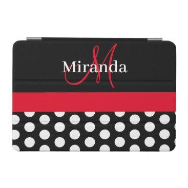 Red Monogram Black White Polka Dot iPad Mini Cover