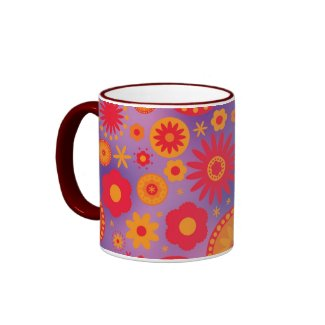 Red Orange & Purple Hippy Flower Pattern mug
