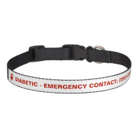 Red Paw And Text Diabetic With Custom Info Dog Collars