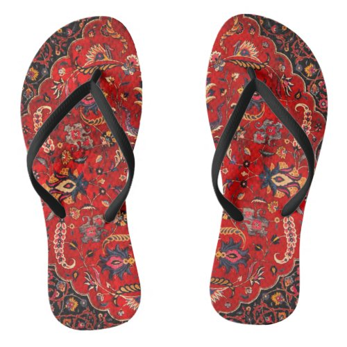 Red Persian Rug from Mashhad Flip Flops