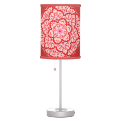 Red Pink Kaleidoscope Floral Design Table Lamp
