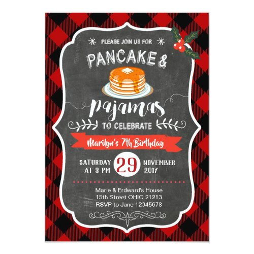 Red Plaid Pancake and Pajamas Birthday Invitation