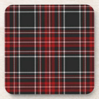 Red Plaid Tartan Cork Coaster (Square) on Zazzle