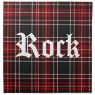 Red Plaid Tartan 'Rock' Napkin on Zazzle