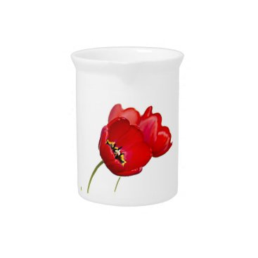 Red Poppies Poppy Flower Yellow Center Photograph Beverage Pitcher