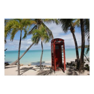 Red public Telephone Booth on Antigua Print