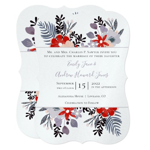 Red Purple and Millennial Floral Ferns Typography Invitation