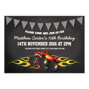Red Racing Monster Jam Truck Bunting Birthday Invitation