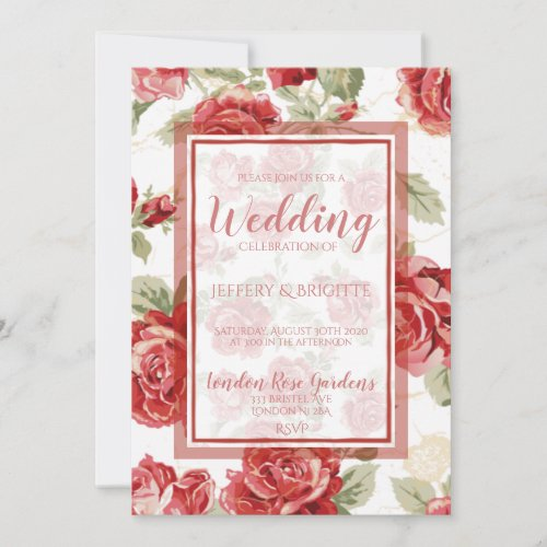 Red rose, floral classic print wedding invitation