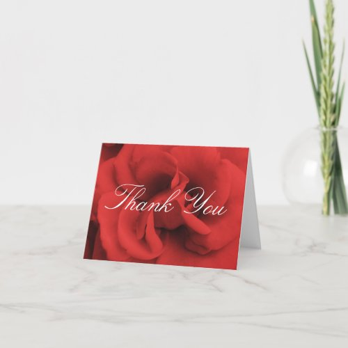 Red Rose Petals Thank You Card