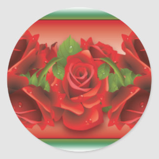 Red Roses Montage Round Stickers