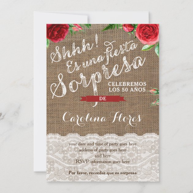 red roses spanish surprise birthday party invitation zazzle com