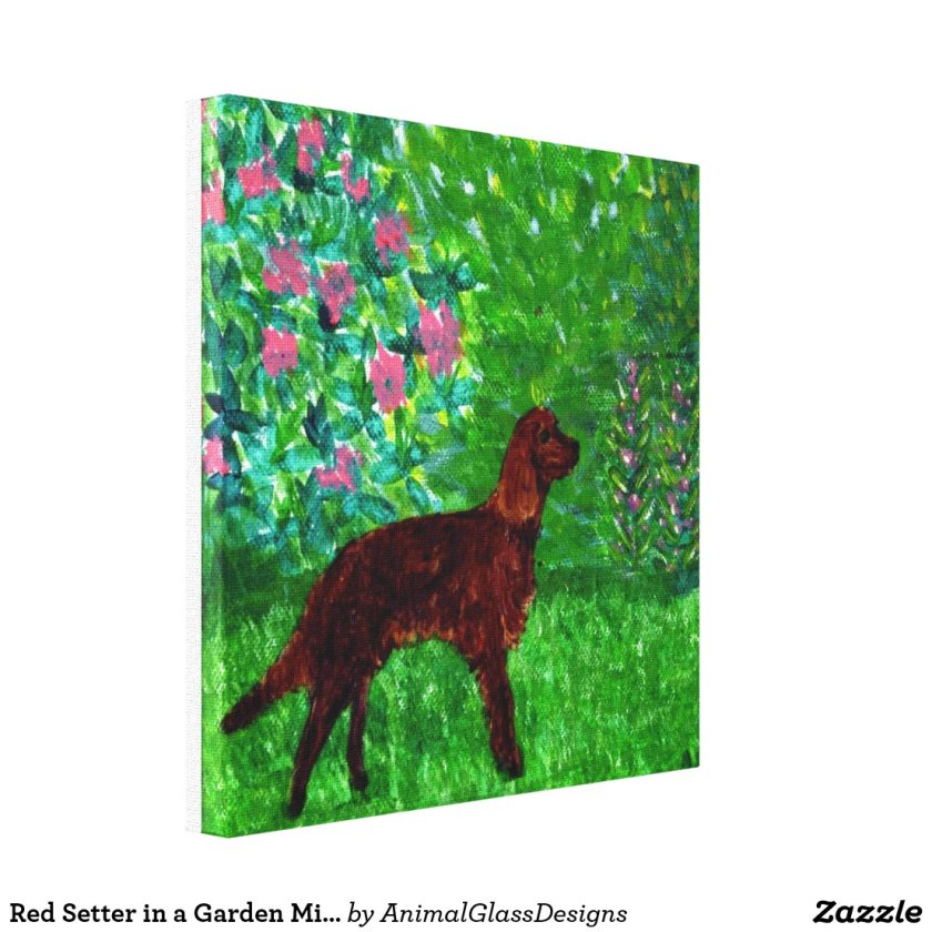 Red Setter in a Garden Mixed Media Dog Painting Canvas Print