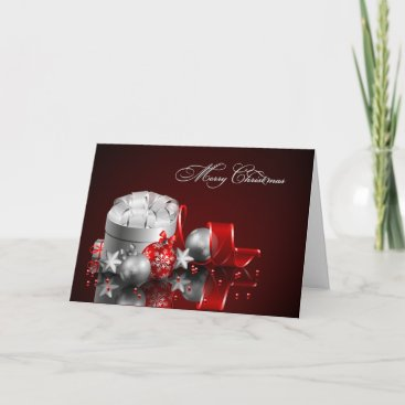 Red & Silver Christmas Ornaments Greetings Holiday Card