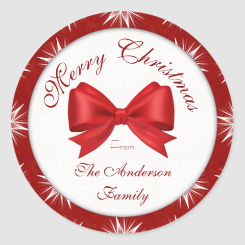Red Snowflake Family Classic Round Sticker