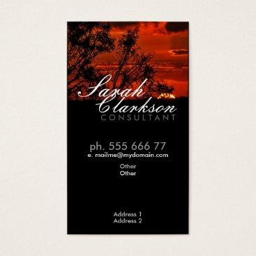 Red Sunset Horizon Vertical Business Card