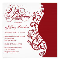 Red & White 50th Birthday Party Invitation