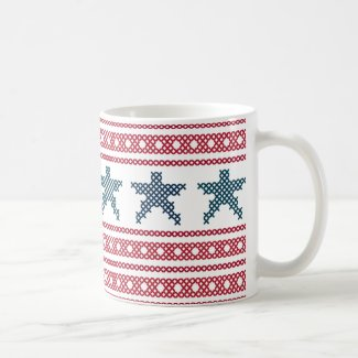 Red White and Blue Cross Stitch Sampler Mug