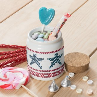 Red, White, and Blue Sampler Ort Jar or Candy Jar