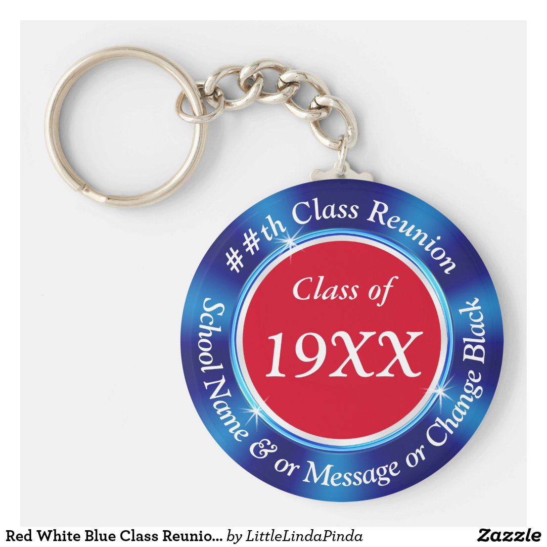 Red White Blue Class Reunion Favors, Personalized Keychain