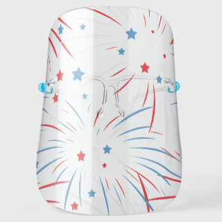 Red White Blue Fireworks Stars Face Shield