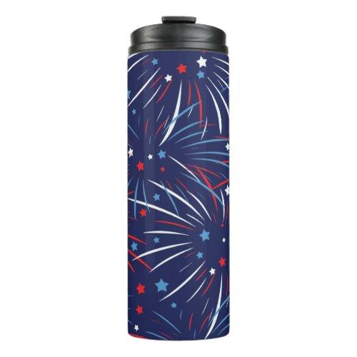 Red White Blue Fireworks Stars Thermal Tumbler